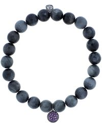 Sydney Evan - Amethyst Pave Disc Charm Bracelet - Lyst
