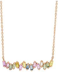 Suzanne Kalan Pastel Sapphire And Diamond Bar Necklace - Rose Gold - Metallic