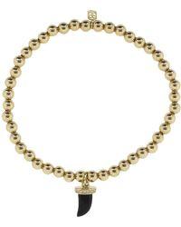 Sydney Evan Small Pave Onyx Horn Charm Bracelet - Metallic