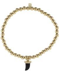 Sydney Evan Small Pave Onyx Horn Charm Bracelet