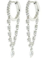 Anita Ko Sienna Huggie Diamond Chain Earrings - Metallic