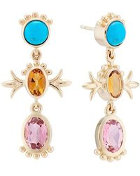 Marlo Laz Squash Blossom Turquoise And Tourmaline Earrings - Metallic