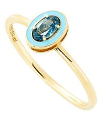 Alison Lou - Blue Topaz And Enamel Ring - Lyst