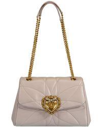 Dolce & Gabbana Dark Grey Devotion Medium Flap Bag