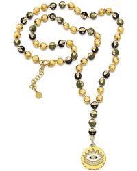 Buddha Mama Army Green Evil Eye Rosary Necklace - Metallic