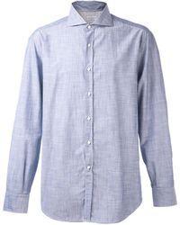 Brunello Cucinelli | Solid Spread Collar Shirt | Lyst