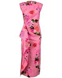 Prabal Gurung Side Drape Cascade Dress - Pink