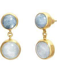 Gurhan One-of-a-kind Aquamarine Rune Drop Earrings - Blue