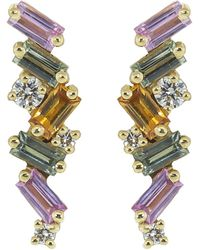 Suzanne Kalan Pink And Green Sapphire Stud Earrings