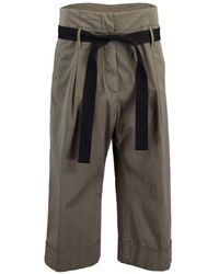 Brunello Cucinelli High Waist Cropped Belted Pant - Green