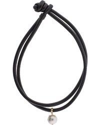 Mizuki Freshwater Pearl Clip On Leather Wrap - Black