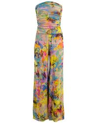 Fuzzi Multi-color Strapless Printed Jumpsuit - Yellow