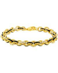 Buddha Mama Black Enamel And Diamond Link Bracelet - Metallic