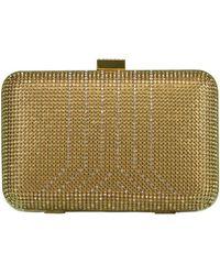 Whiting & Davis Gold Crystal Yves Minaudiere Box Clutch - Metallic