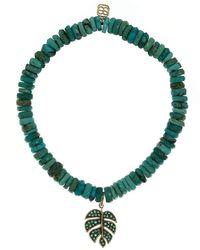 Sydney Evan Emerald Monstera Leaf Charm Turquoise Bead Bracelet - Green