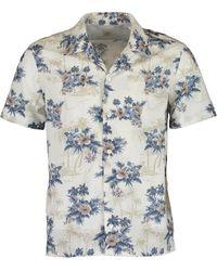 Eleventy Floral Bowling Shirt - Blue