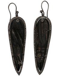 S. CARTER DESIGNS Black Horn Earrings - Metallic