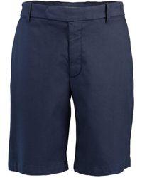 Eleventy Stretch Cotton Flat-front Bermuda Chino Shorts - Blue