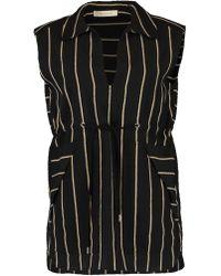 Cedric Charlier Pin Stripe Vest Top - Black