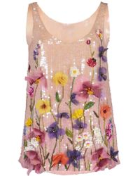 Blumarine - Floral Embroidered Top - Lyst