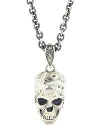 John Varvatos Distressed Sterling Silver Skull Necklace - Metallic