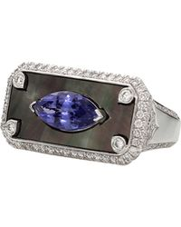 Inbar - Mother Of Pearl And Tanzanite Signet Ring - Lyst