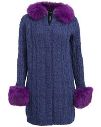 Anna Sui - Long Fox Trim Cable Knit Cardigan - Lyst