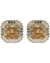 Fantasia by Deserio Large Square Cubic Zirconia Earrings - Metallic