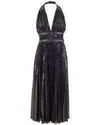 Michael Kors Double Belt Pleated Halter Dress - Black