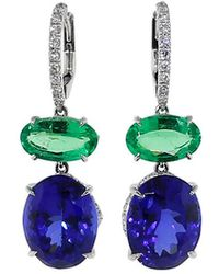 Inbar - Tanzanite And Emerald Earrings - Lyst