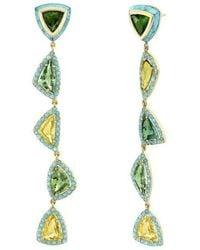 Emily P. Wheeler Turquoise, Tourmaline And Sapphire Moss Earrings - Green