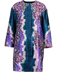 Peter Pilotto Printed Cropped Coat - Blue