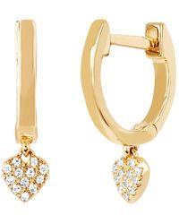 EF Collection - Diamond Heart Drop Huggie Earrings - Lyst