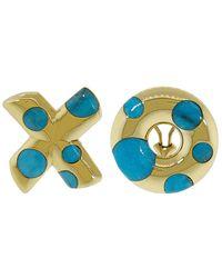 "Retrouvai Turquoise Polka Dot ""xo"" Earrings - Multicolour"