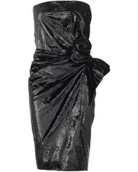 Lanvin Strapless Velour Lamé Dress - Black
