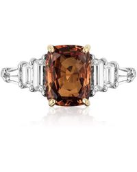Bayco Cushion Orange Sapphire And Diamond Ring - Metallic