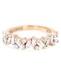 Suzanne Kalan Diamond Icon Half Band Ring - Rose Gold - Metallic