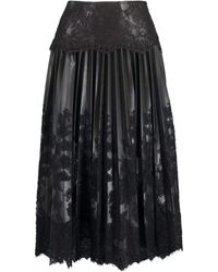 Ermanno Scervino Black Leather Pleated Lace Skirt