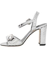 Dolce & Gabbana - Crystal Silver Sandal - Lyst