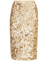 Michael Kors Embroidered Pencil Skirt - Metallic