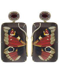 Silvia Furmanovich Red Garnet Butterfly Earrings - Multicolour