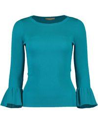Michael Kors Ruffle Cuff Ribbed Top - Blue