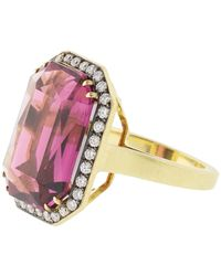 Sylva & Cie Rhodolite And Diamond Ring - Metallic
