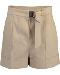 Brunello Cucinelli Belted High-rise Drill Shorts - Brown