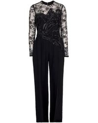 Elie Saab Illusion Lace Top Jumpsuit - Black