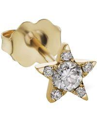 Maria Tash Single 5.5mm Yellow Gold Diamond Star Stud - Metallic