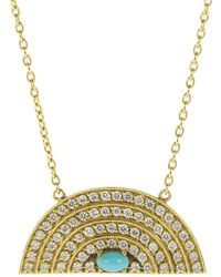 Andrea Fohrman Medium Diamond And Turquoise Rainbow Necklace - Metallic