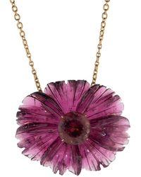 Irene Neuwirth Carved Pink Tourmaline Tropical Flower Necklace