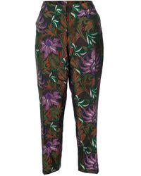 Dries Van Noten Poumas Flat Front Floral Trouser - Multicolour