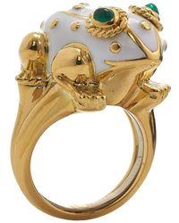 David Webb White Enamel Frog Ring - Metallic
